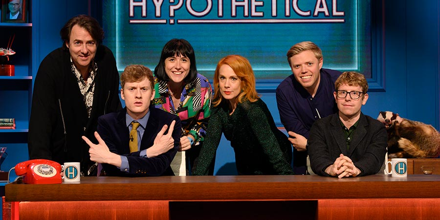 Hypothetical. Image shows from L to R: Jonathan Ross, James Acaster, Maisie Adam, Sara Barron, Rob Beckett, Josh Widdicombe. Copyright: Hat Trick Productions.