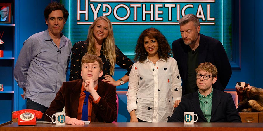 Hypothetical. Image shows from L to R: Stephen Mangan, James Acaster, Tessa Coates, Shappi Khorsandi, Charlie Brooker, Josh Widdicombe. Copyright: Hat Trick Productions.