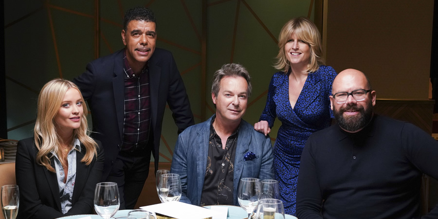 I'll Get This. Image shows from L to R: Laura Whitmore, Chris Kamara, Julian Clary, Rachel Johnson, Tom Davis. Copyright: 12 Yard Productions.