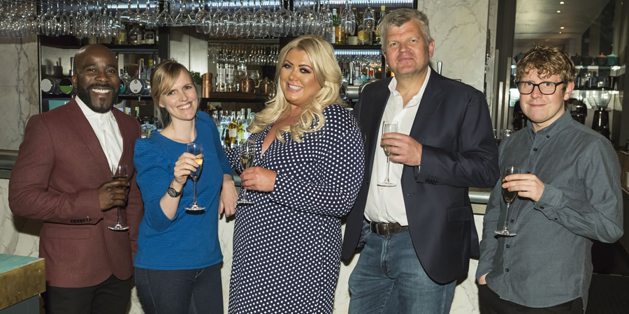 I'll Get This. Image shows from L to R: Melvin Odoom, Holly Walsh, Gemma Collins, Adrian Chiles, Josh Widdicombe. Copyright: 12 Yard Productions.