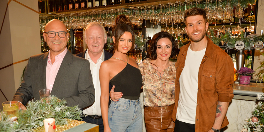 I'll Get This. Image shows from L to R: Gregg Wallace, Les Dennis, Maura Higgins, Shirley Ballas, Joel Dommett. Copyright: 12 Yard Productions.