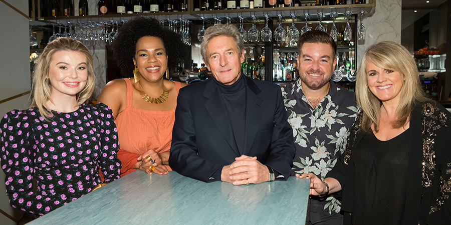 I'll Get This. Image shows from L to R: Georgia Toffolo, Desiree Burch, Nigel Havers, Alex Brooker, Sally Lindsay. Copyright: 12 Yard Productions.