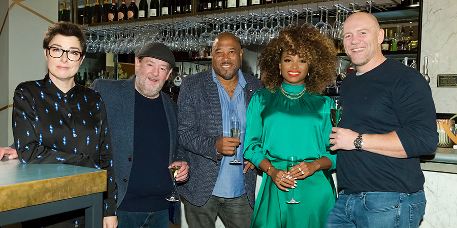 I'll Get This. Image shows from L to R: Sue Perkins, Johnny Vegas, John Barnes, Fleur East, Mike Tindall. Copyright: 12 Yard Productions.