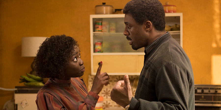 In The Long Run. Image shows from L to R: Agnes (Madeline Appiah), Walter (Idris Elba). Copyright: Sprout Pictures.