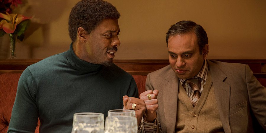 In The Long Run. Image shows from L to R: Walter (Idris Elba), Rajesh (Neil D'Souza).