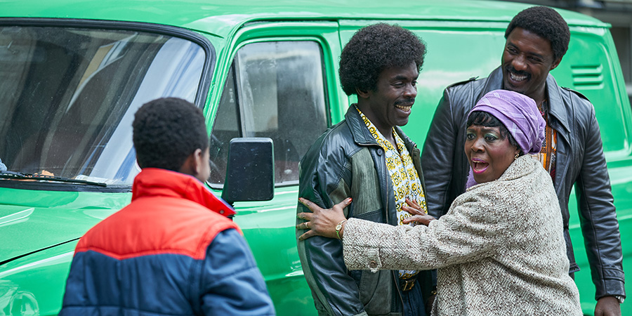 In The Long Run. Image shows from L to R: Kobna (Sammy Kamara), Valentine (Jimmy Akingbola), Mama (Ellen Thomas), Walter (Idris Elba).
