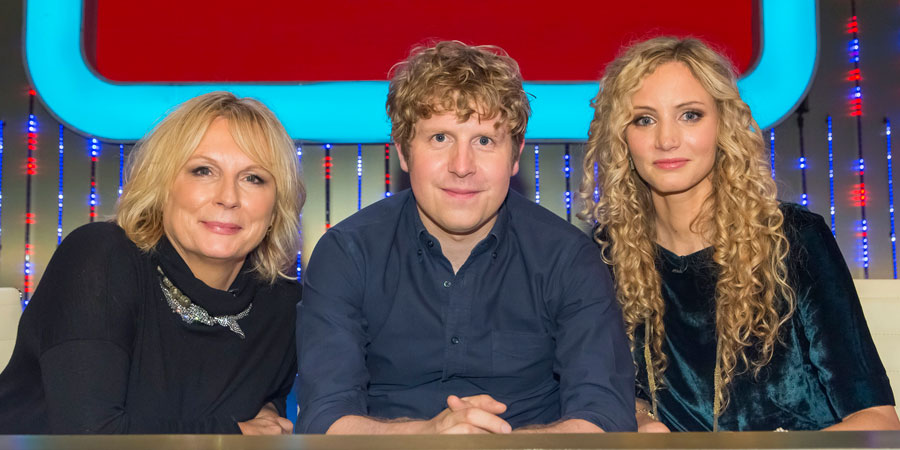 Insert Name Here. Image shows from L to R: Jennifer Saunders, Josh Widdicombe, Suzannah Lipscomb. Copyright: 12 Yard Productions / Black Dog Television.