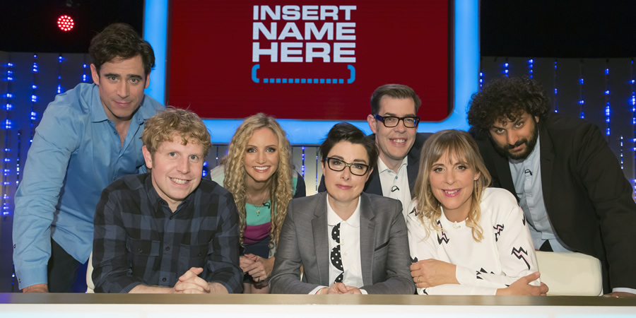 Insert Name Here. Image shows from L to R: Stephen Mangan, Josh Widdicombe, Suzannah Lipscomb, Sue Perkins, Richard Osman, Mel Giedroyc, Nish Kumar.
