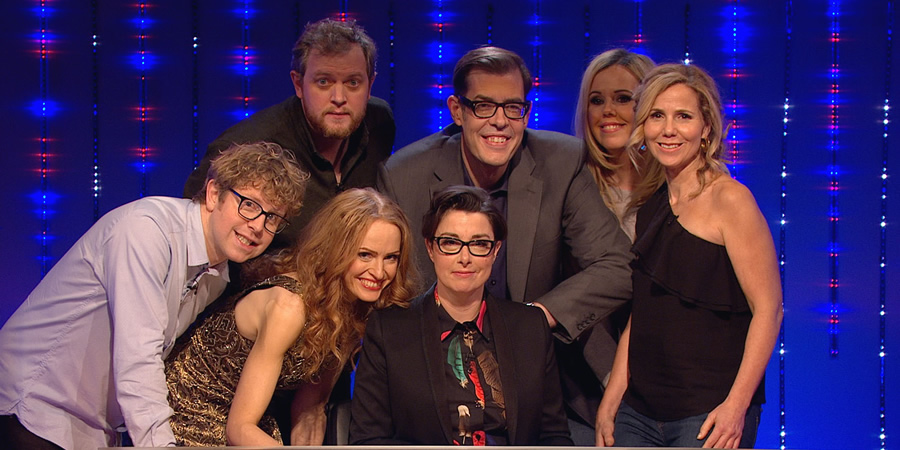 Insert Name Here. Image shows from L to R: Josh Widdicombe, Miles Jupp, Kate Williams, Sue Perkins, Richard Osman, Roisin Conaty, Sally Phillips.