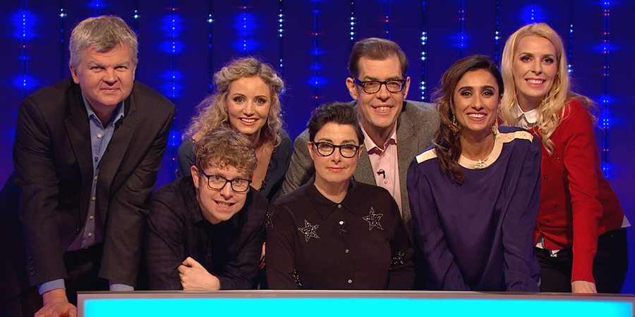 Insert Name Here. Image shows from L to R: Adrian Chiles, Josh Widdicombe, Suzannah Lipscomb, Sue Perkins, Richard Osman, Anita Rani, Sara Pascoe.