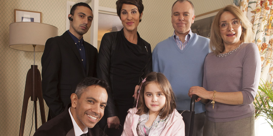 Inside No. 9. Image shows from L to R: Si (Adam Deacon), Frankie J. Parsons (David Bedella), Sally (Tamsin Greig), Tamsin (Lucy Hutchinson), Graham (Steve Pemberton), Jan (Sophie Thompson). Copyright: BBC.