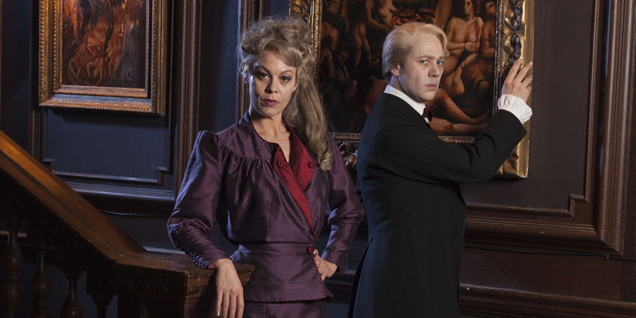 Inside No. 9. Image shows from L to R: Tabitha (Helen McCrory), Hector (Reece Shearsmith). Copyright: BBC.