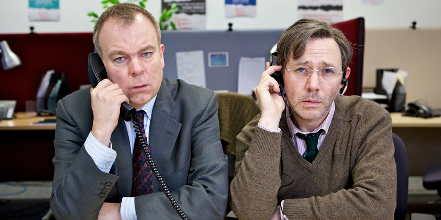 Inside No. 9. Image shows from L to R: Andy (Steve Pemberton), George (Reece Shearsmith). Copyright: BBC.