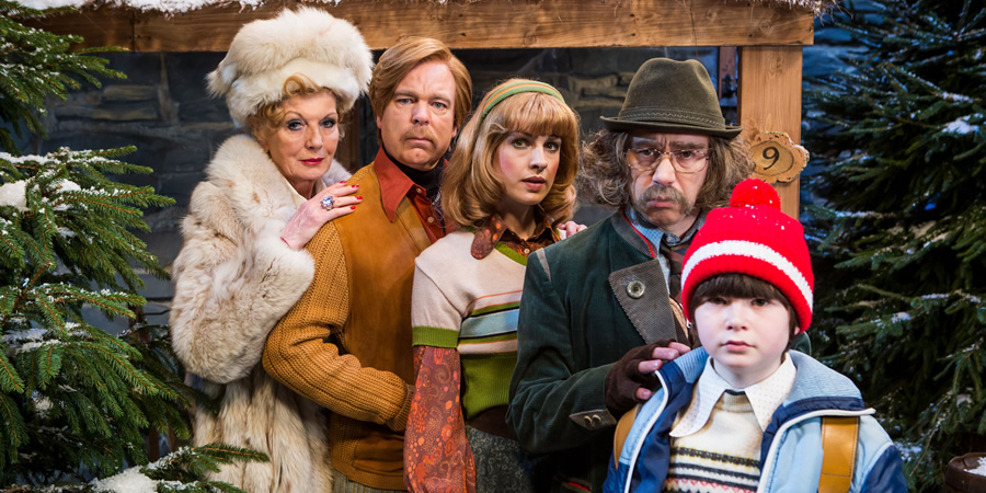 Inside No. 9. Image shows from L to R: Celia (Rula Lenska), Julian Devonshire (Steve Pemberton), Kathy Devonshire (Jessica Raine), Klaus (Reece Shearsmith), Toby Devonshire (George Bedford). Copyright: BBC.