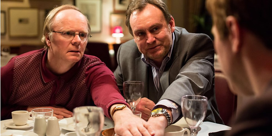 Inside No. 9. Image shows from L to R: Kevin (Jason Watkins), Craig (Philip Glenister). Copyright: BBC.