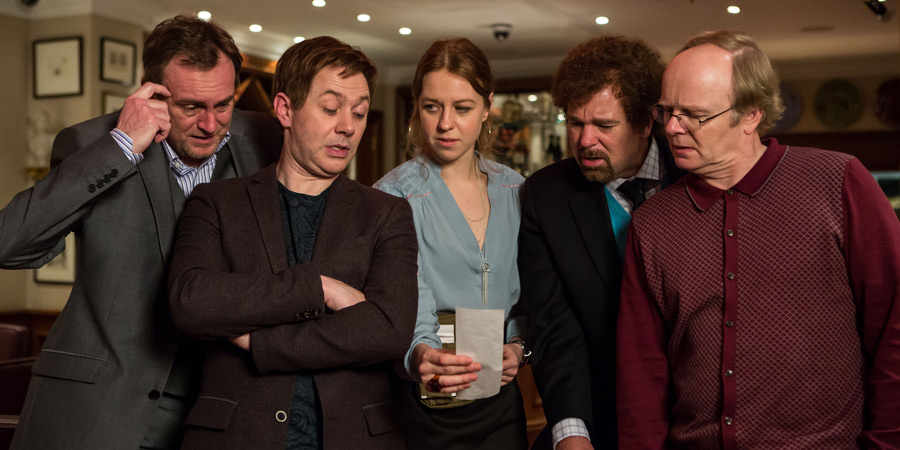 Inside No. 9. Image shows from L to R: Craig (Philip Glenister), Archie (Reece Shearsmith), Anya (Ellie White), Malcolm (Steve Pemberton), Kevin (Jason Watkins). Copyright: BBC.