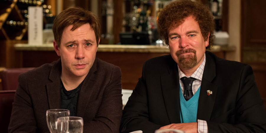 Inside No. 9. Image shows from L to R: Archie (Reece Shearsmith), Malcolm (Steve Pemberton). Copyright: BBC.