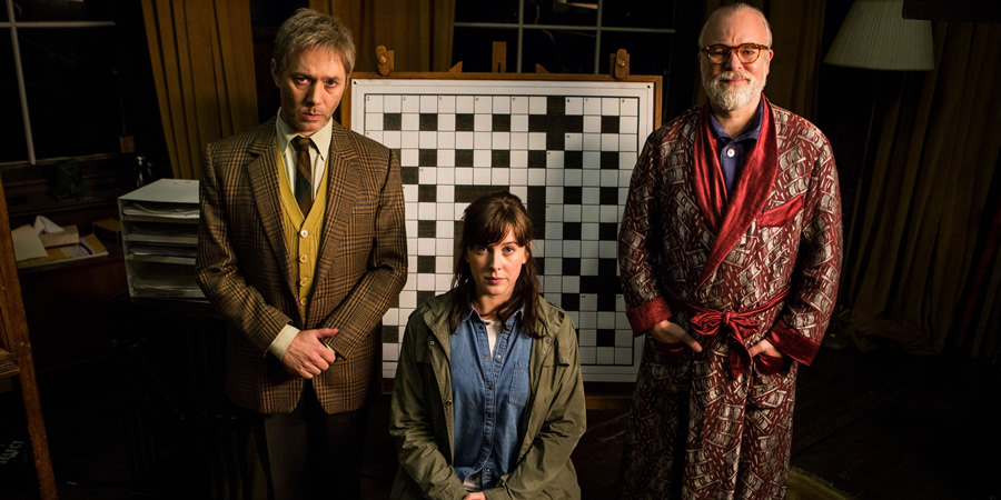 Inside No. 9. Image shows from L to R: Dr Jacob Tyler (Reece Shearsmith), Nina (Alexandra Roach), Professor Squires (Steve Pemberton). Copyright: BBC.