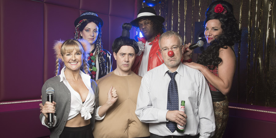 Inside No. 9. Image shows from L to R: Fran (Sarah Hadland), Janet (Emily Howlett), Greg (Reece Shearsmith), Duane (Javone Prince), Roger (Steve Pemberton), Connie (Tamzin Outhwaite). Copyright: BBC.