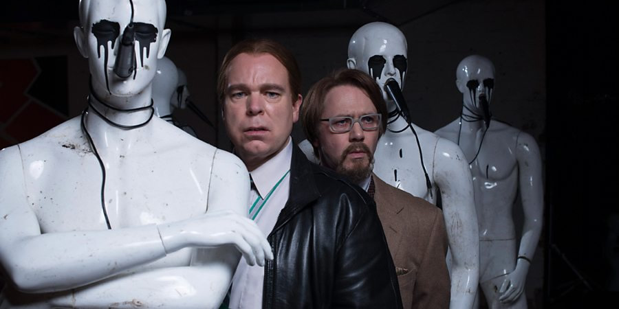 Inside No. 9. Image shows from L to R: Kenneth (Steve Pemberton), Maurice (Reece Shearsmith). Copyright: BBC.