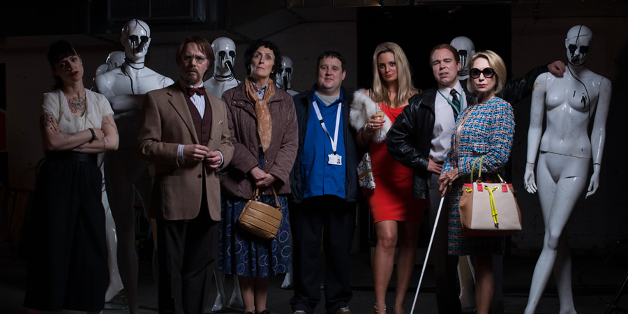 Inside No. 9. Image shows from L to R: Bea (Montserrat Lombard), Maurice (Reece Shearsmith), Jean (Fiona Shaw), Neil (Peter Kay), Carrie (Morgana Robinson), Kenneth (Steve Pemberton), Patricia (Felicity Kendal). Copyright: BBC.