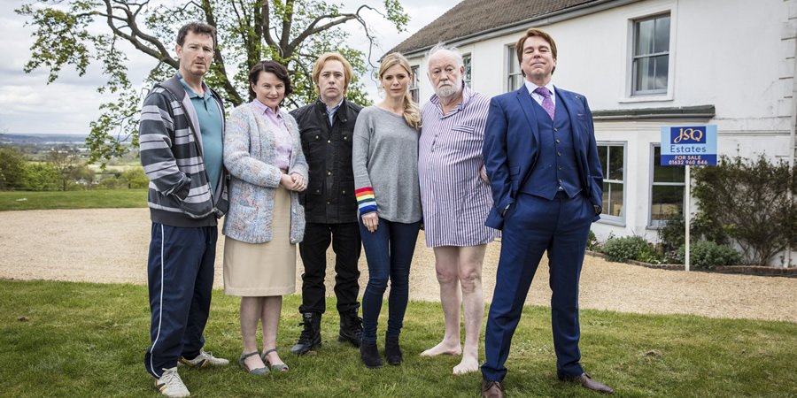 Inside No. 9. Image shows from L to R: Spike (Nick Moran), May (Monica Dolan), Viktor (Reece Shearsmith), Natasha (Emilia Fox), Percy (David Calder), Hugo (Steve Pemberton). Copyright: BBC.