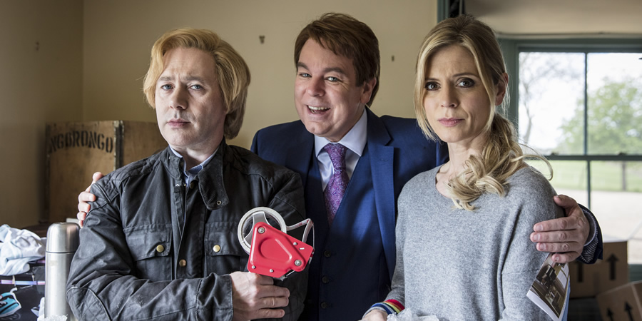 Inside No. 9. Image shows from L to R: Viktor (Reece Shearsmith), Hugo (Steve Pemberton), Natasha (Emilia Fox). Copyright: BBC.