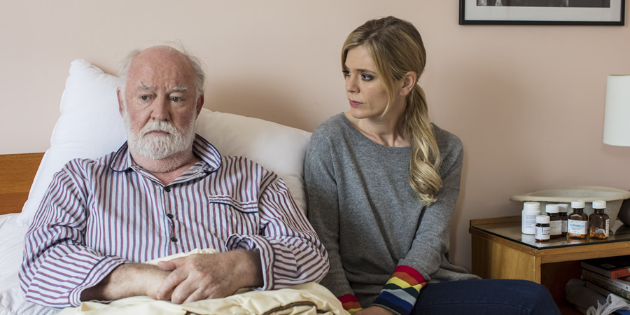 Inside No. 9. Image shows from L to R: Percy (David Calder), Natasha (Emilia Fox). Copyright: BBC.