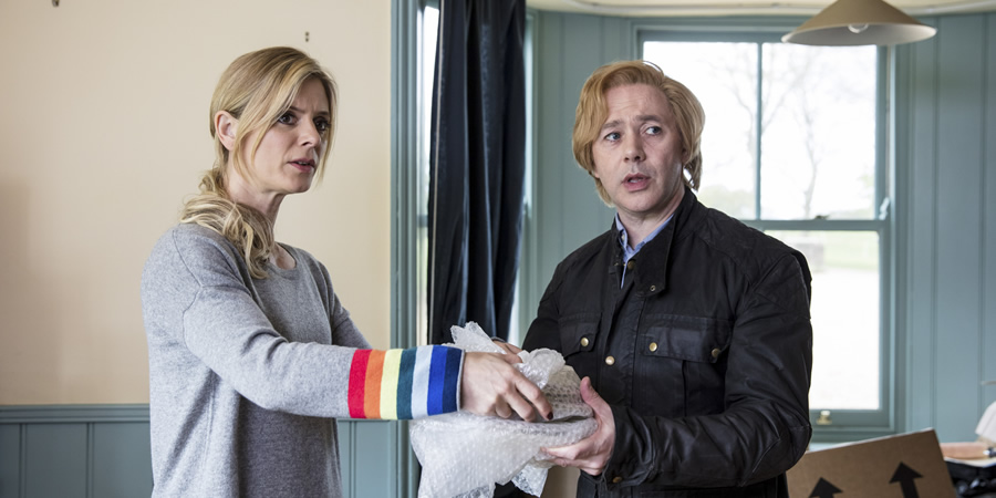 Inside No. 9. Image shows from L to R: Natasha (Emilia Fox), Viktor (Reece Shearsmith). Copyright: BBC.