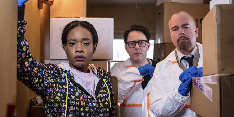 Inside No. 9. Image shows from L to R: Maz (Weruche Opia), Nick (Reece Shearsmith), Keith (Steve Pemberton). Copyright: BBC.