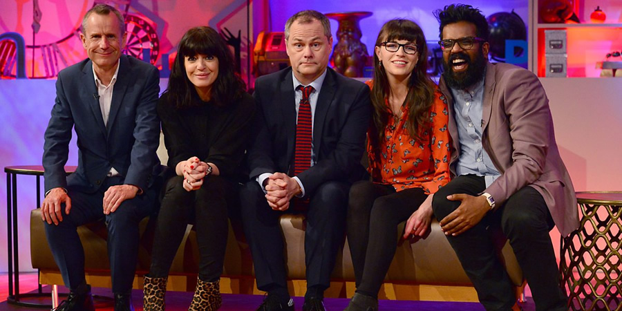 Jack Dee's HelpDesk. Image shows from L to R: Jeremy Hardy, Claudia Winkleman, Jack Dee, Aisling Bea, Romesh Ranganathan.