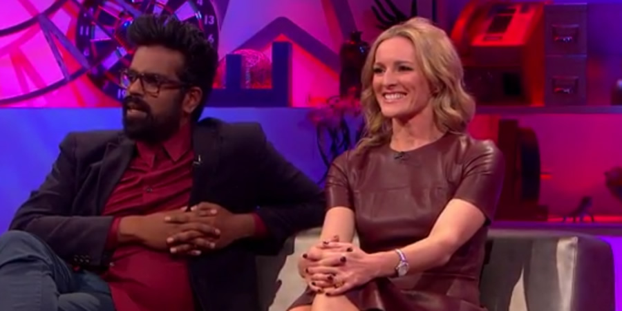 Jack Dee's HelpDesk. Image shows from L to R: Romesh Ranganathan, Gabby Logan.