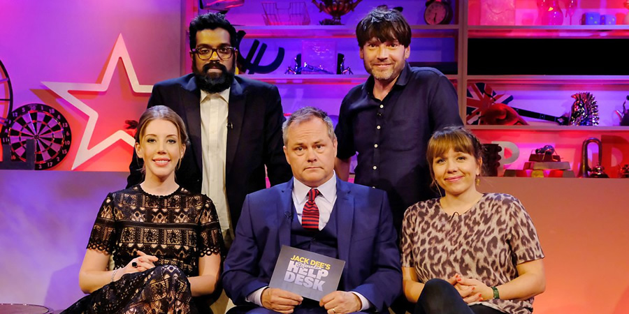 Jack Dee's HelpDesk. Image shows from L to R: Katherine Ryan, Romesh Ranganathan, Jack Dee, Alex James, Kerry Godliman.