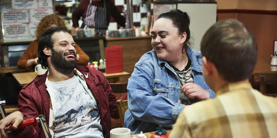 Jerk. Image shows from L to R: Tim (Tim Renkow), Ruth (Sharon Rooney), Idris (Rob Madin).