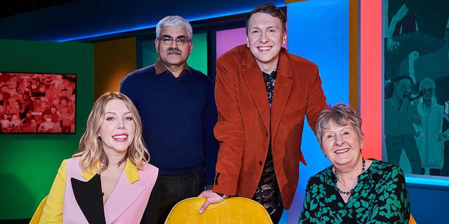 Joe Lycett's Got Your Back. Image shows from L to R: Katherine Ryan, Mark Silcox, Joe Lycett, Val Stones.