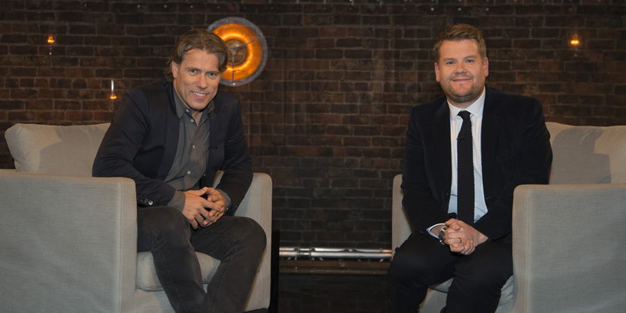 John Bishop In Conversation With.... Image shows from L to R: John Bishop, James Corden. Copyright: Lola Entertainment.