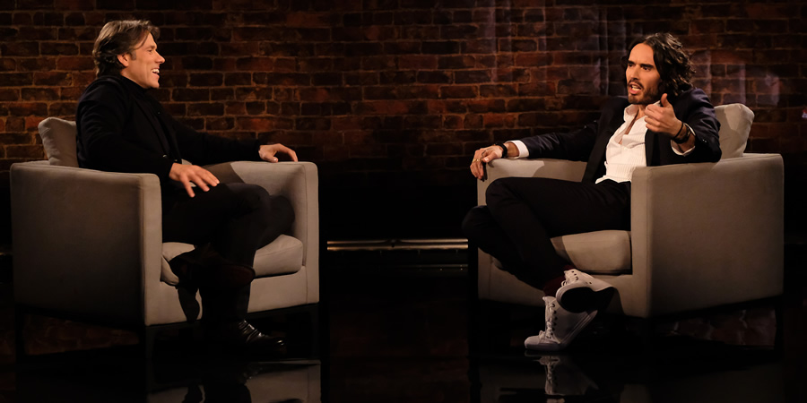 John Bishop In Conversation With.... Image shows from L to R: John Bishop, Russell Brand. Copyright: Lola Entertainment.