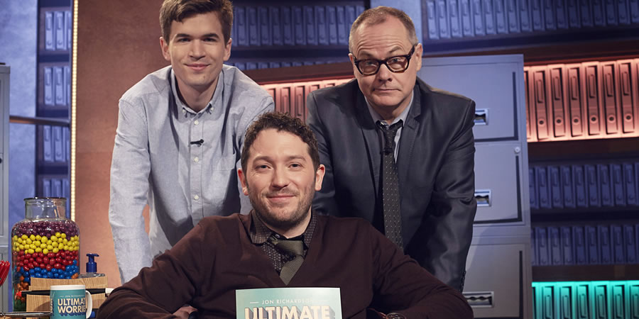 Jon Richardson: Ultimate Worrier. Image shows from L to R: Ivo Graham, Jon Richardson, Jack Dee. Copyright: Talkback.