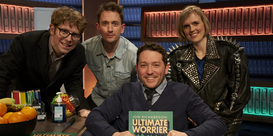 Jon Richardson: Ultimate Worrier. Image shows from L to R: Josh Widdicombe, John Robins, Jon Richardson, Holly Walsh. Copyright: Talkback.