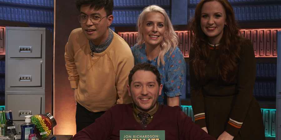 Jon Richardson: Ultimate Worrier. Image shows from L to R: Phil Wang, Jon Richardson, Sara Pascoe, Catherine Bohart. Copyright: Talkback.
