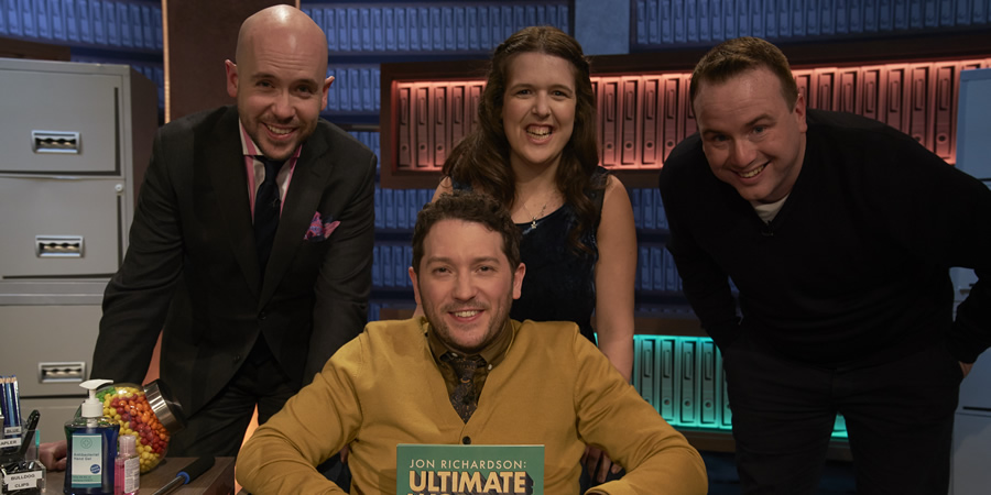 Jon Richardson: Ultimate Worrier. Image shows from L to R: Tom Allen, Jon Richardson, Rosie Jones, Matt Forde. Copyright: Talkback.