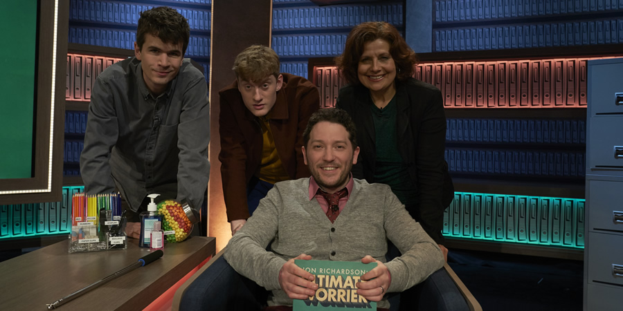 Jon Richardson: Ultimate Worrier. Image shows from L to R: Ivo Graham, James Acaster, Jon Richardson, Rebecca Front. Copyright: Talkback.