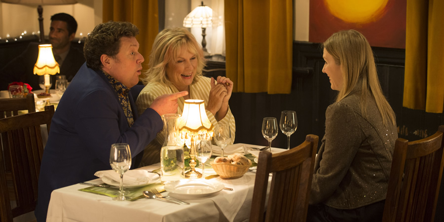 Josh. Image shows from L to R: Paul (Michael Ball), Judith Anderson (Jennifer Saunders), Kate (Beattie Edmondson). Copyright: BBC.