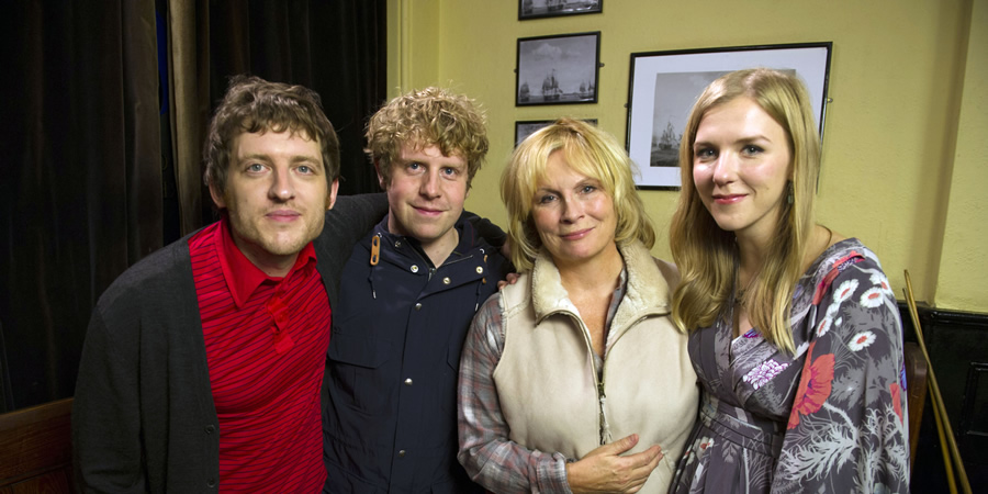 Josh. Image shows from L to R: Owen (Elis James), Josh (Josh Widdicombe), Judith Anderson (Jennifer Saunders), Kate (Beattie Edmondson). Copyright: BBC.