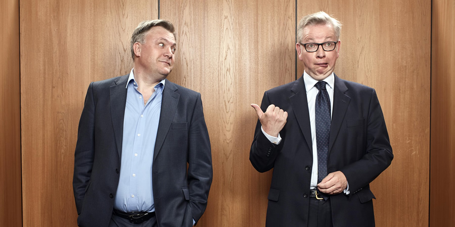 The Last Leg. Image shows from L to R: Ed Balls, Michael Gove. Copyright: Open Mike Productions.