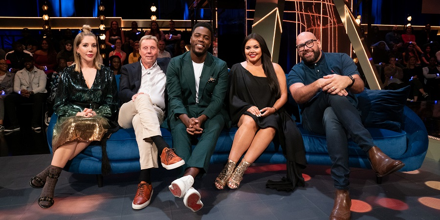 The Lateish Show With Mo Gilligan. Image shows from L to R: Katherine Ryan, Harry Redknapp, Mo Gilligan, Scarlett Moffatt, Tom Davis.