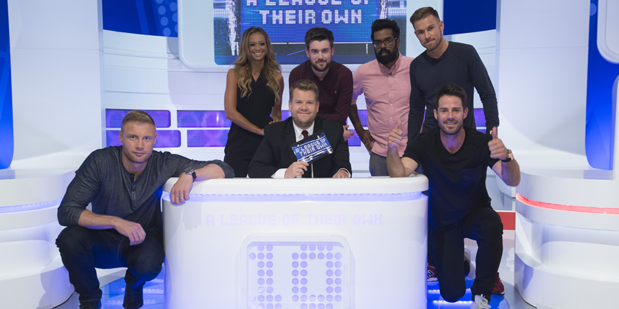 A League Of Their Own. Image shows from L to R: Andrew Flintoff, Kate Abdo, James Corden, Jack Whitehall, Romesh Ranganathan, Aaron Ramsey, Jamie Redknapp. Copyright: CPL Productions.