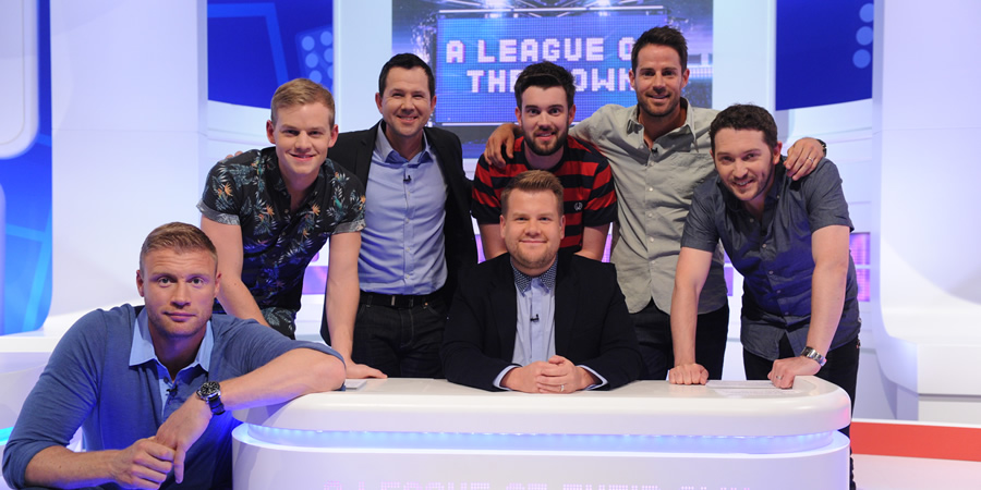 A League Of Their Own. Image shows from L to R: Andrew Flintoff, Joel Creasey, Ricky Ponting, James Corden, Jack Whitehall, Jamie Redknapp, Jon Richardson. Copyright: CPL Productions.
