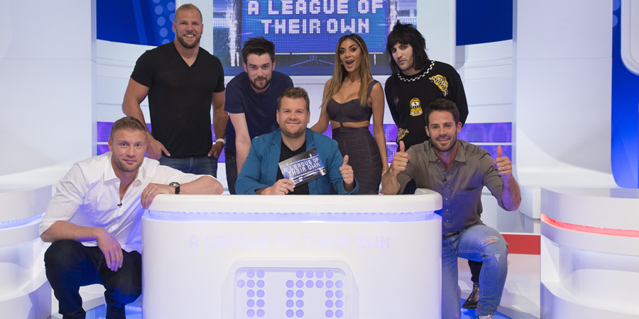 A League Of Their Own. Image shows from L to R: Andrew Flintoff, James Haskell, Jack Whitehall, James Corden, Nicole Scherzinger, Noel Fielding, Jamie Redknapp. Copyright: CPL Productions.