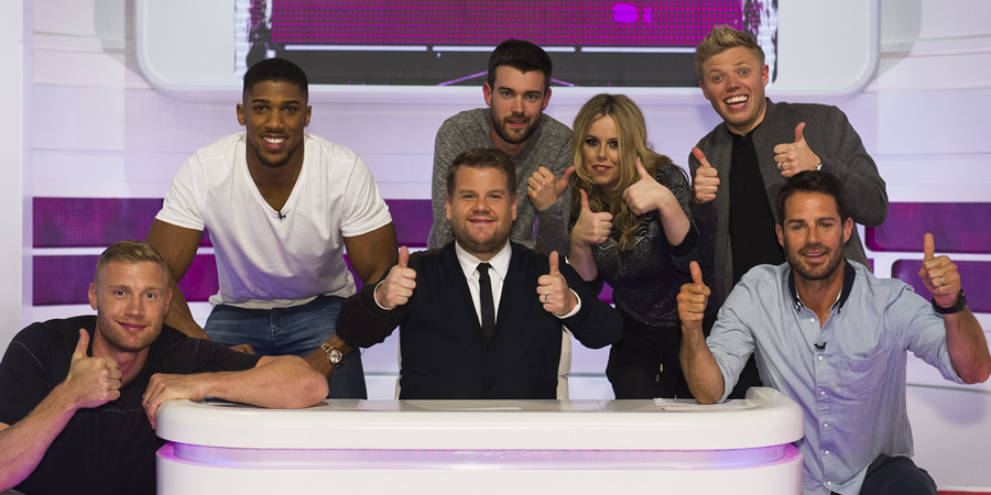 A League Of Their Own. Image shows from L to R: Andrew Flintoff, Anthony Joshua, James Corden, Jack Whitehall, Roisin Conaty, Rob Beckett, Jamie Redknapp. Copyright: CPL Productions.